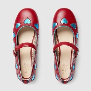 Gucci Children's Leather Hearts Ballet Flat
